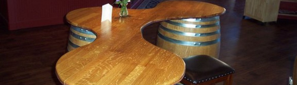 artistically and functionally recycled wine barrels